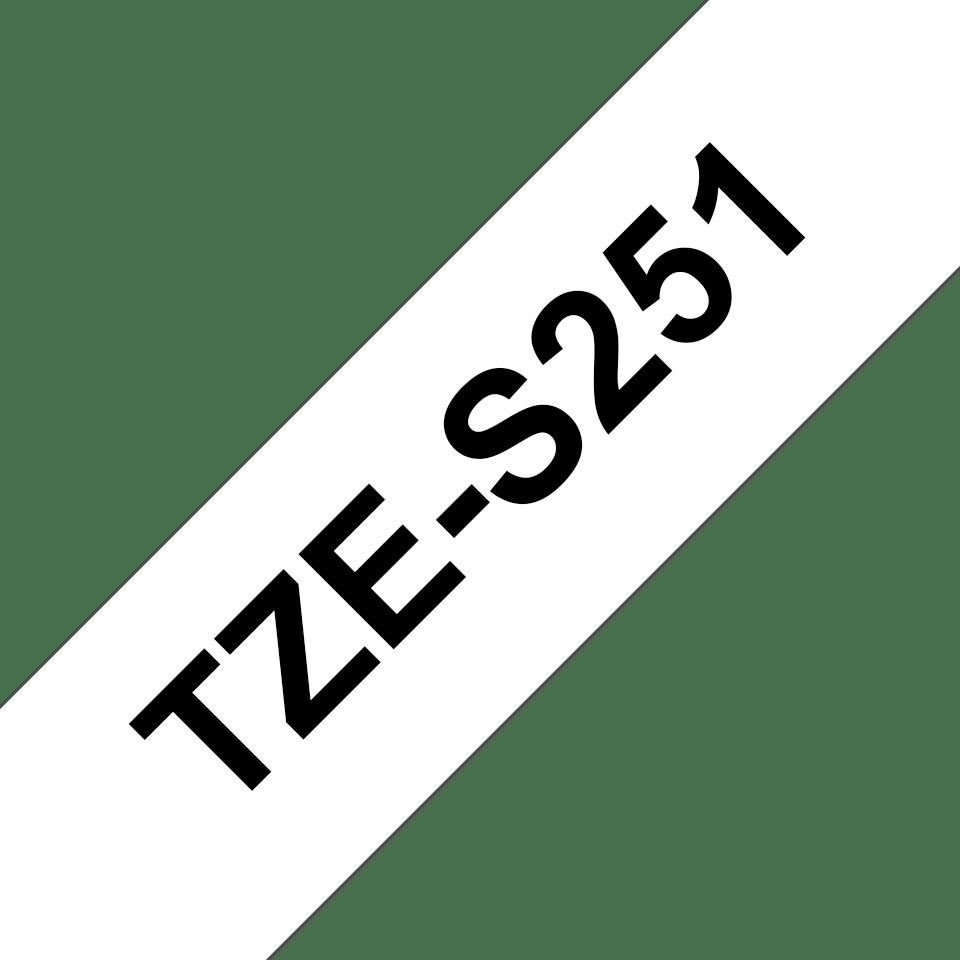 Schriftband für Brother P-Touch TZE-S251 8m//24mm Schwarz auf Weiß