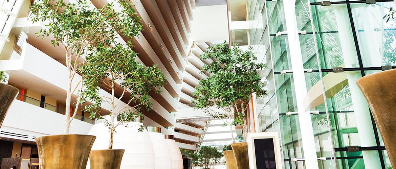 Lobby eines modernen Bürogebäudes mit Glasfronen und Pflanzen