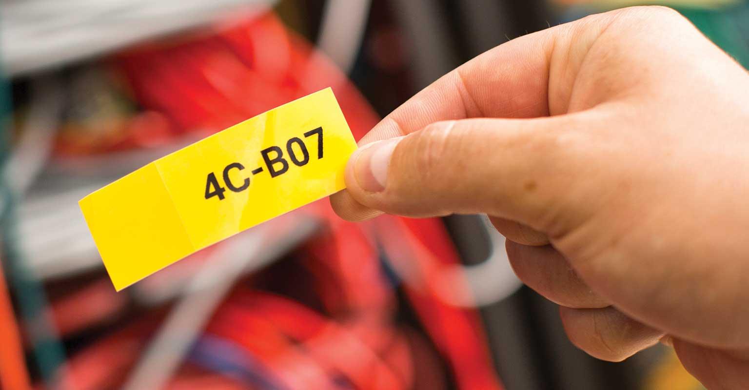Individuelles Etikett, gedruckt mit der Brother Mobile Cable Label Tool App