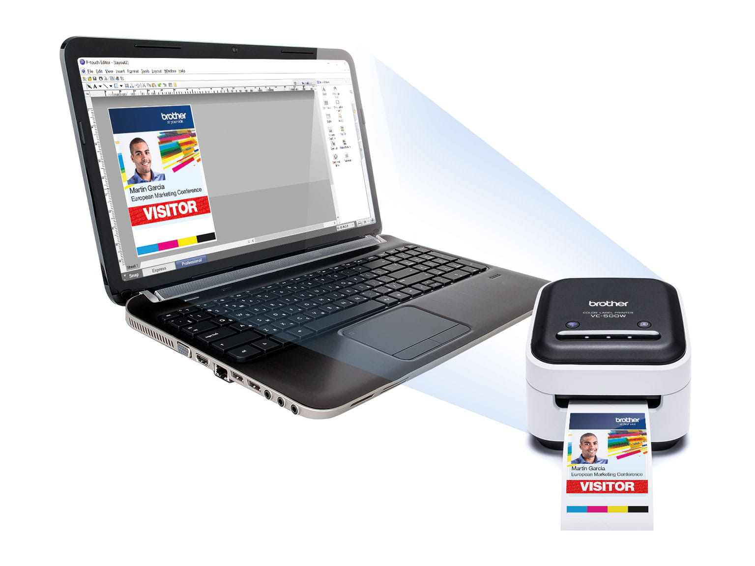 Brother VC-500W colour label printer and P-touch editor software on a laptop