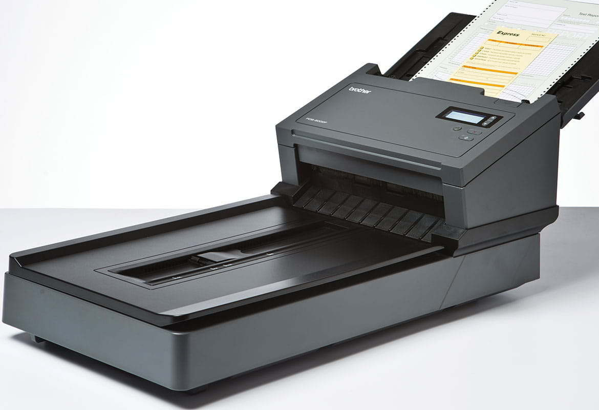 Professional Brother PDS-6000F document scanner with documents in document feeder