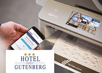 Hotel Gutenberg - Drucker mit Handy verbunden