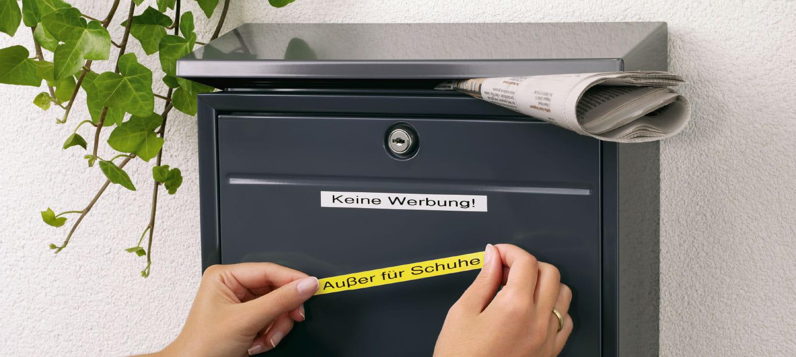 Briefkasten mit P-Touch Beschriftung