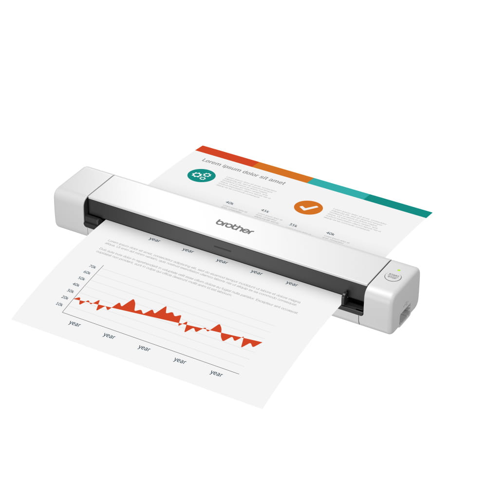 Brother DSmobile DS640 portable document scanner with blue ID card inserted into the scanner