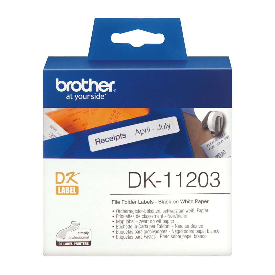 Brother DK-11203 Einzeletiketten – schwarz auf weiß 0