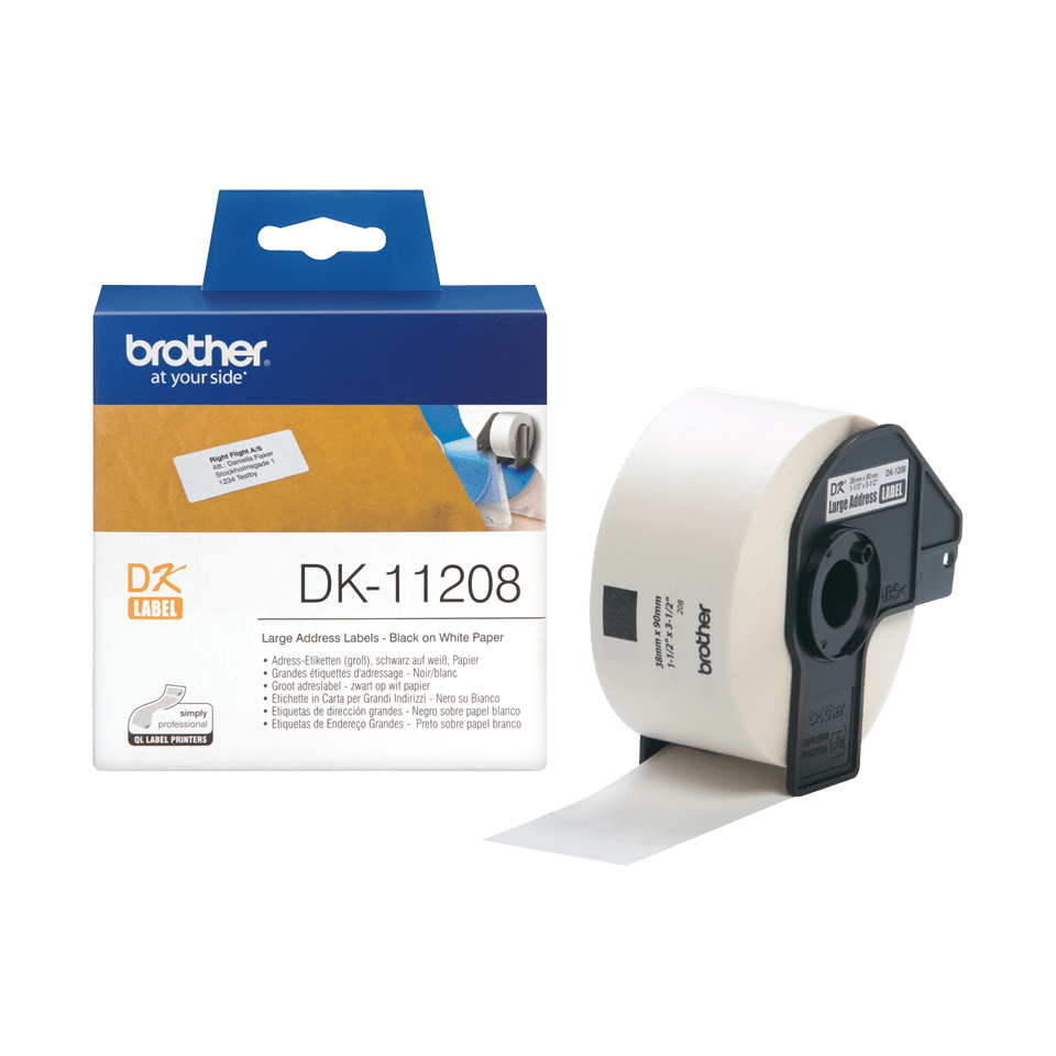 Brother DK-11208 Einzeletiketten – schwarz auf weiß 3
