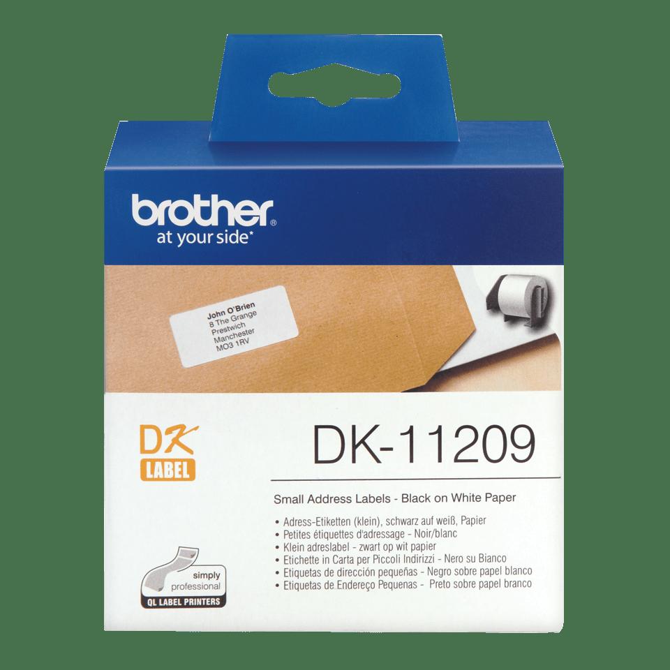 Brother DK-11209 Einzeletiketten – schwarz auf weiß 0