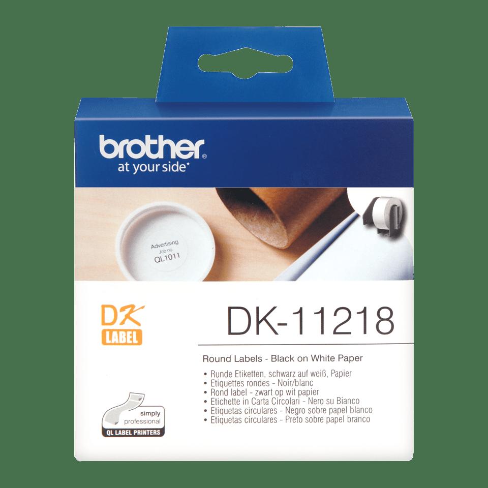 Brother DK-11218 Rundetiketten – schwarz auf weiß