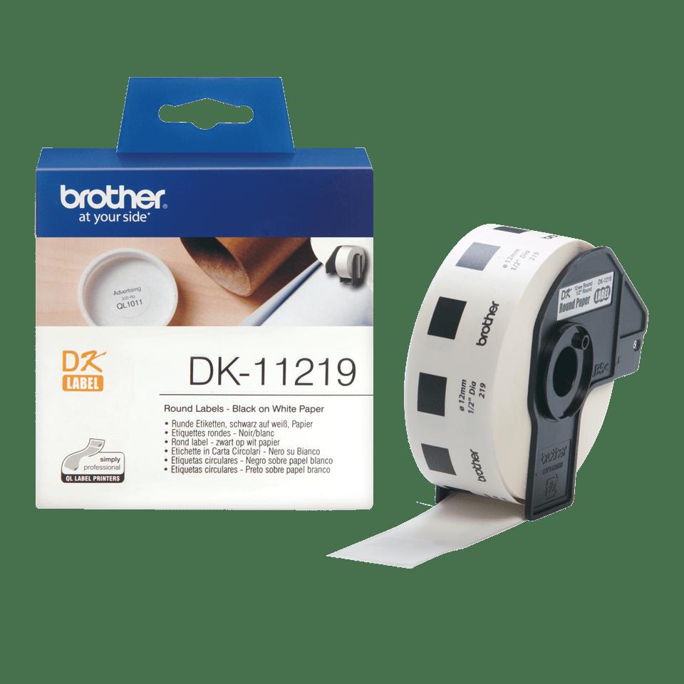 Brother DK-11219 Rundetiketten – schwarz auf weiß