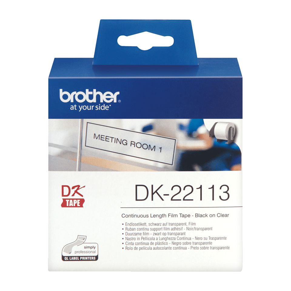 Brother DK-22113 Endlosetiketten – schwarz auf transparent 2