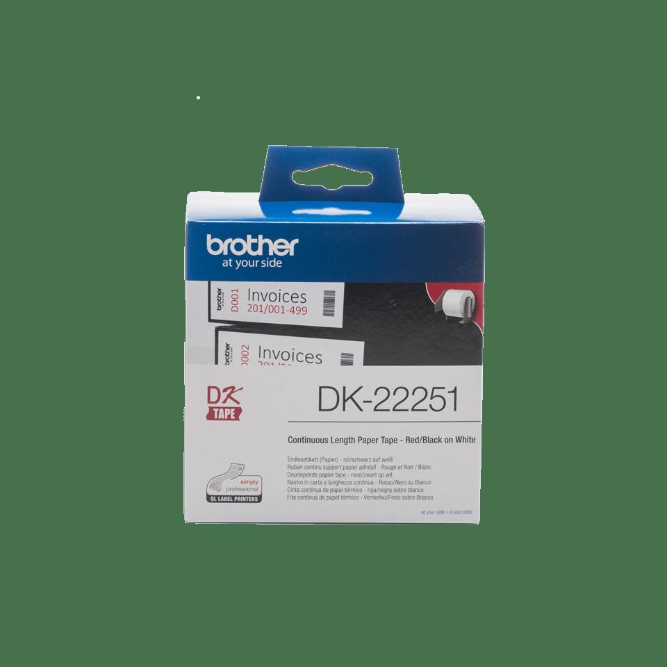 Brother DK-22251 Endlosetiketten – schwarz-rot auf weiß 0