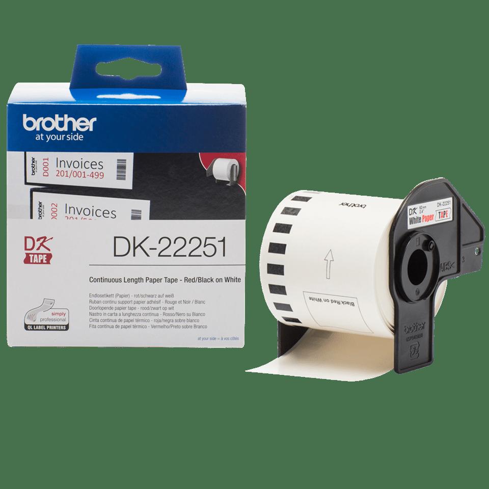 Brother DK-22251 Endlosetiketten – schwarz-rot auf weiß