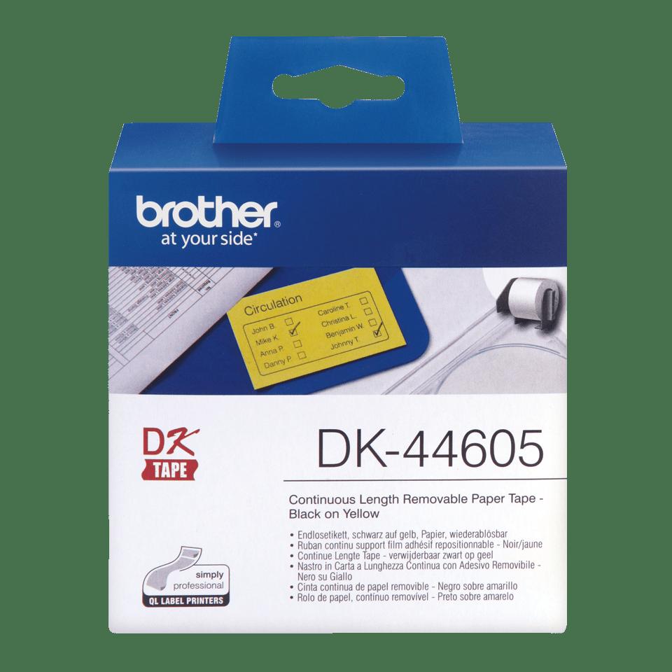 Brother DK-44605 Endlosetiketten – schwarz auf gelb 0