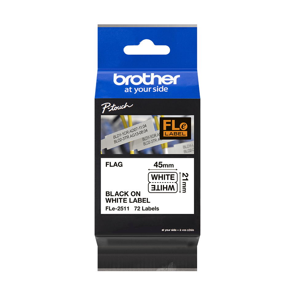 Brother FLe-2511 Einzelfähnchen-Etiketten – schwarz auf weiß 3