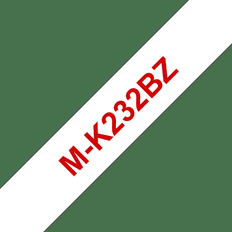 Brother M-K232 Schriftband – rot auf weiß