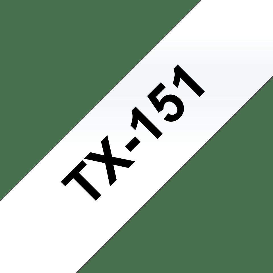 Brother TX-151 Schriftband – schwarz auf transparent