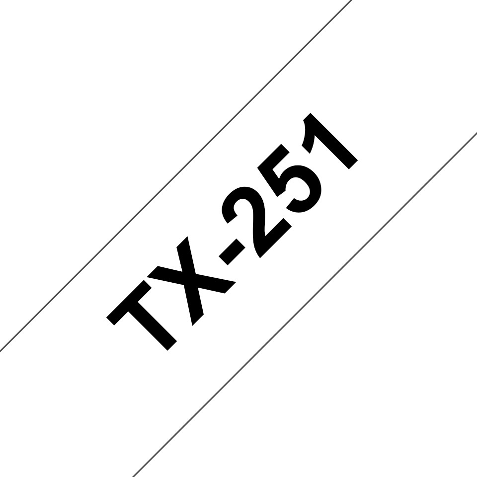 Brother TX-251 Schriftband – schwarz auf weiß 0