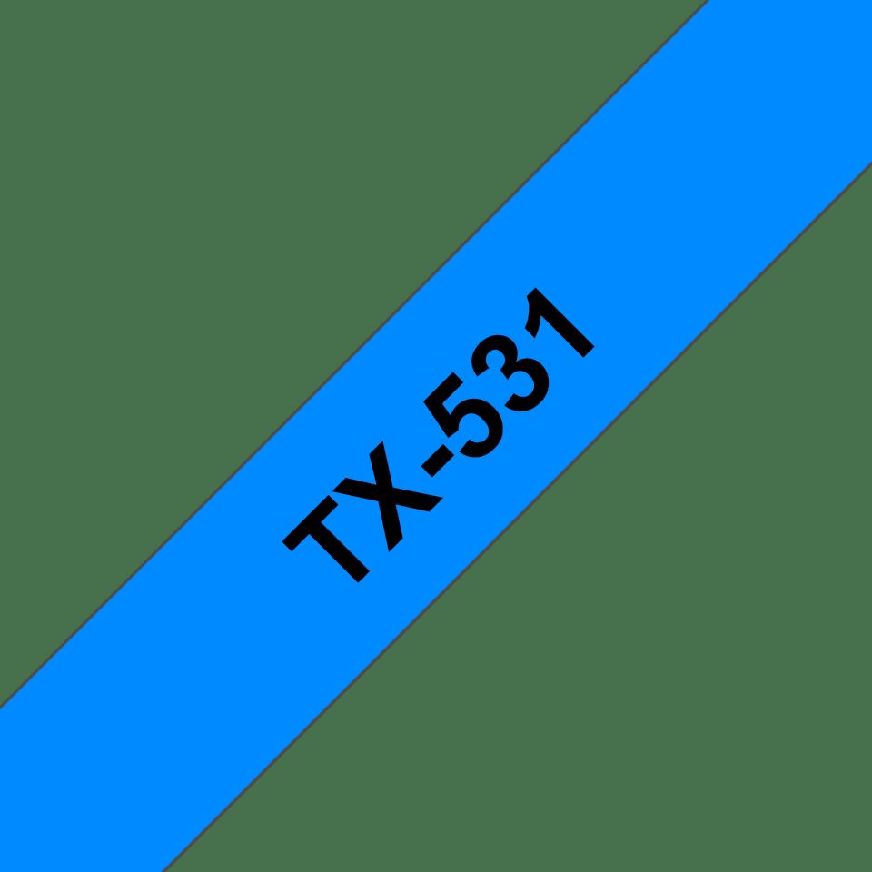 Brother TX-531 Schriftband – schwarz auf blau 0
