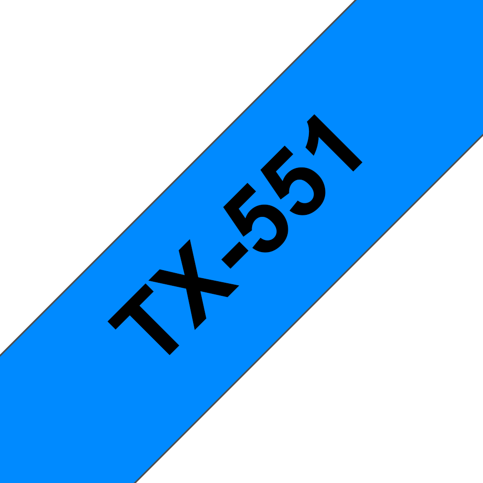 Brother TX-551 Schriftband – schwarz auf blau