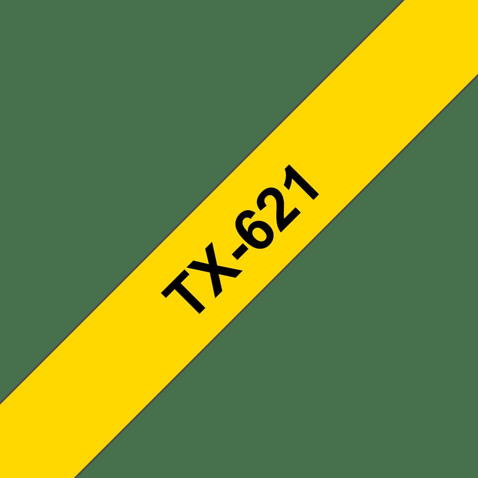 Brother TX-621 Schriftband – schwarz auf gelb