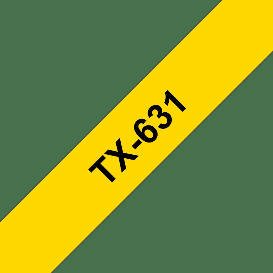 Brother TX-631 Schriftband – schwarz auf gelb 0