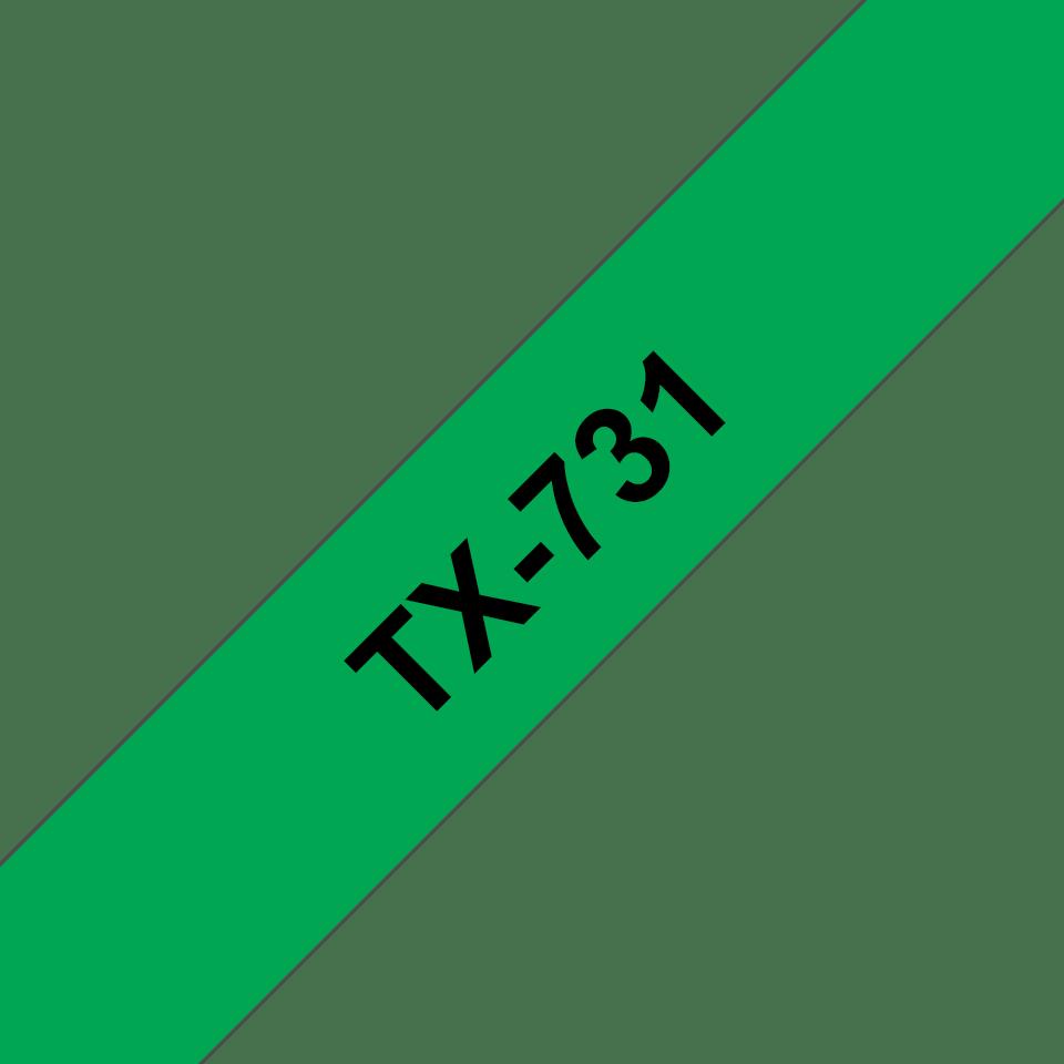 Brother TX-731 Schriftband – schwarz auf grün 0