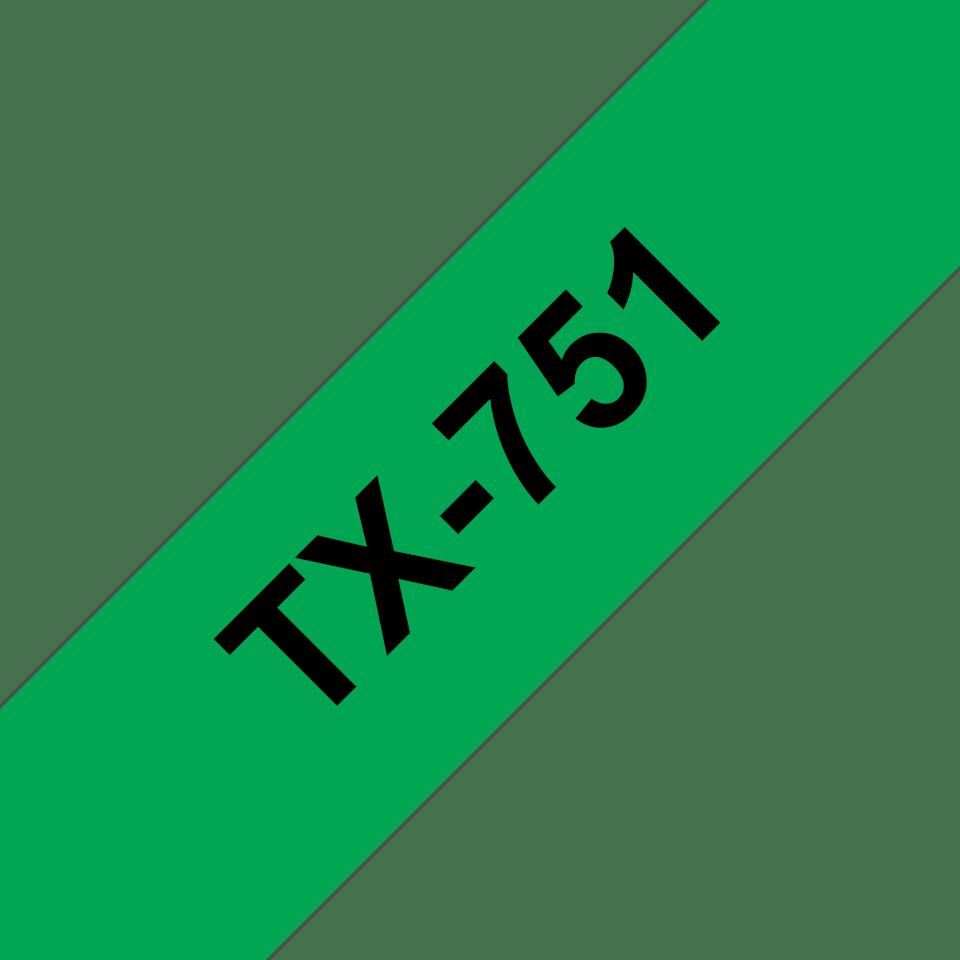 Brother TX-751 Schriftband – schwarz auf grün