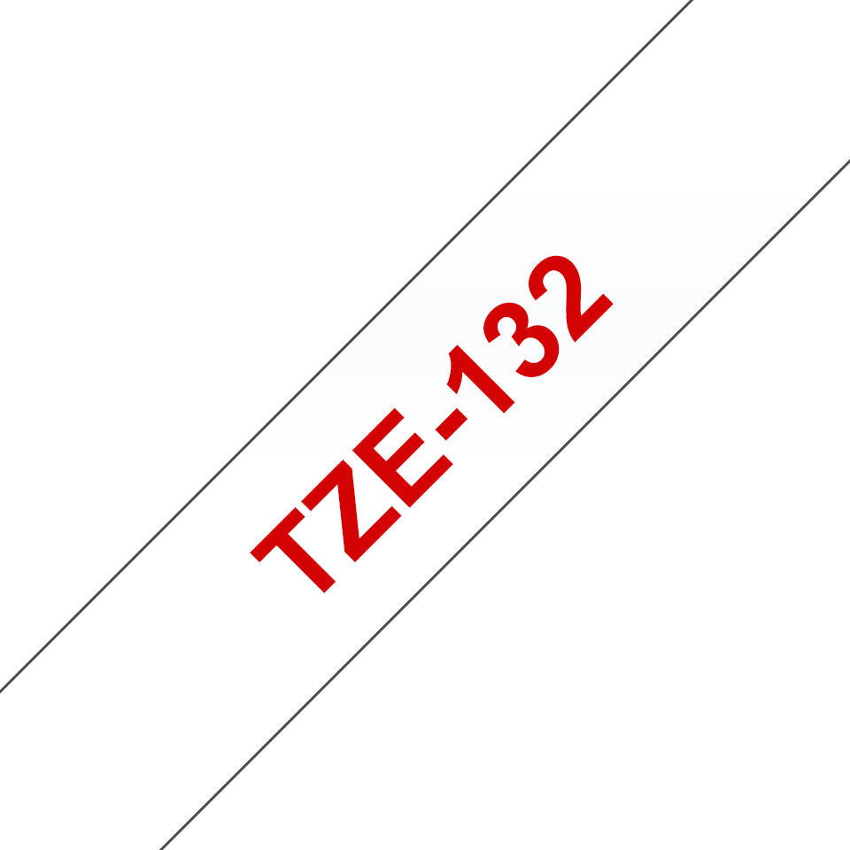 Brother TZe-132 Schriftband – rot auf transparent 3