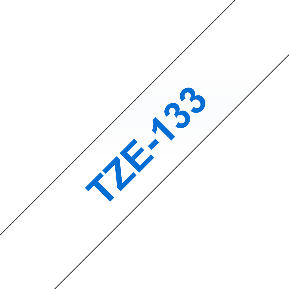 Brother TZe-133 Schriftband – blau auf transparent 2