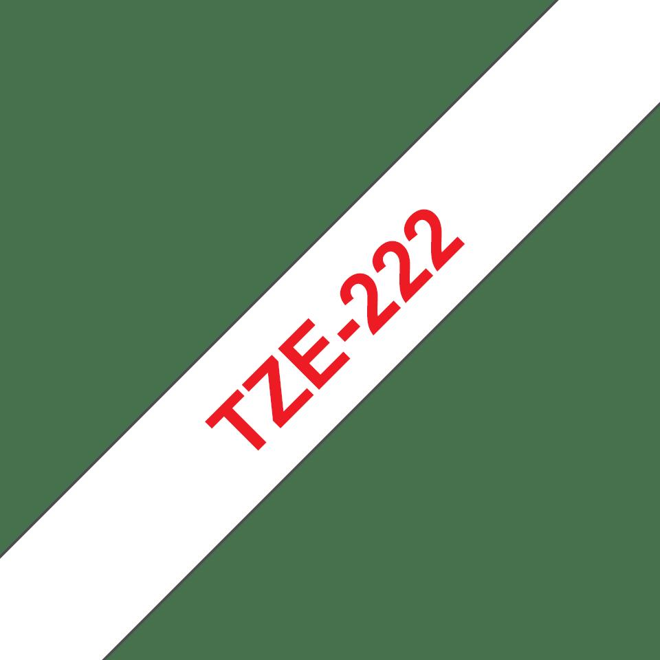 Brother TZe-222 Schriftband – rot auf weiß 2