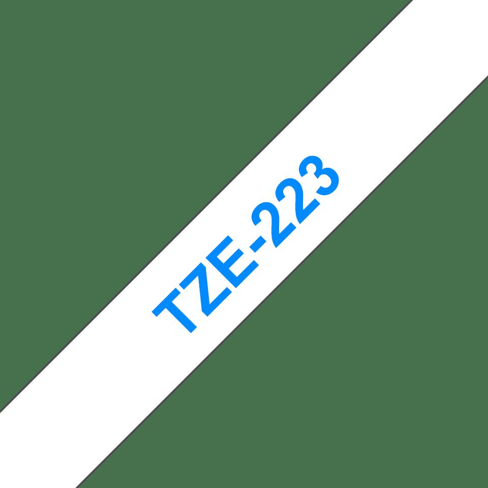 Brother TZe-223 Schriftband – blau auf weiß 2