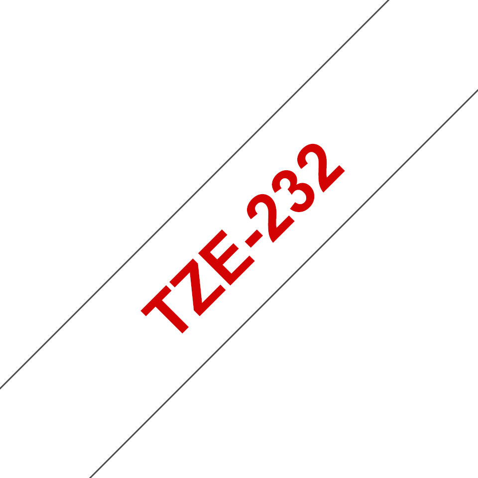 Brother TZe-232 Schriftband – rot auf weiß 2