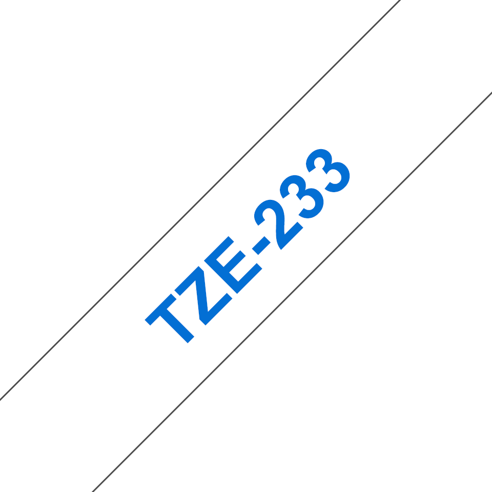 Brother TZe-233 Schriftband – blau auf weiß 3