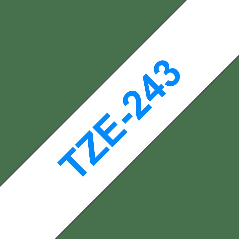 Brother TZe-243 Schriftband – blau auf weiß 3