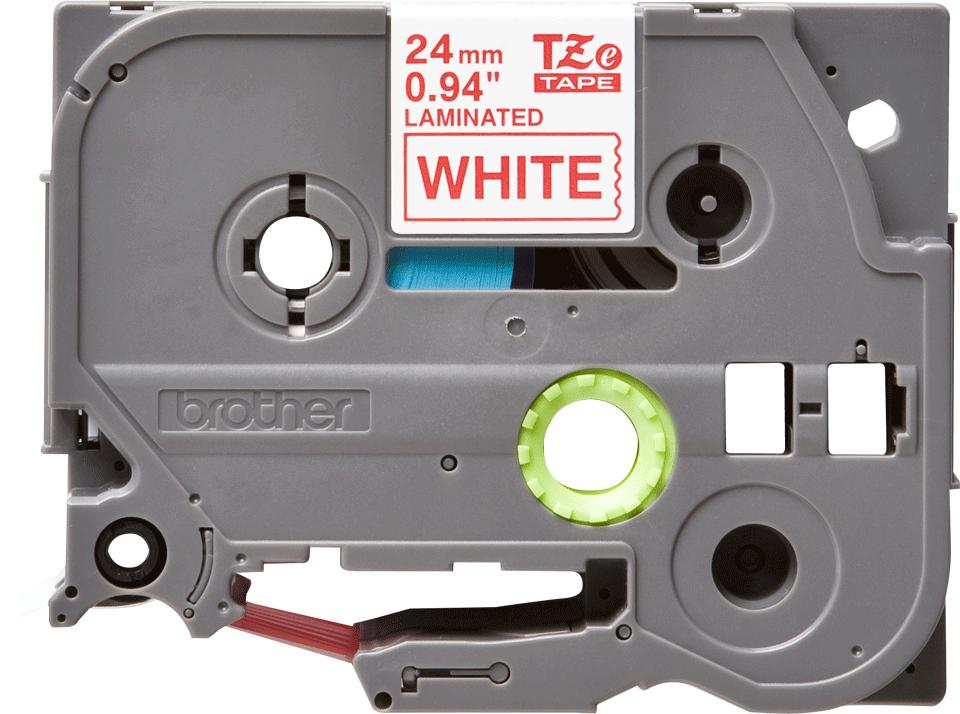 Brother TZe-252 Schriftband – rot auf weiß 0