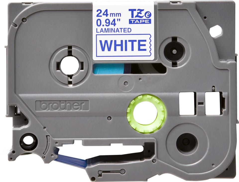 Brother TZe-253 Schriftband – blau auf weiß 3