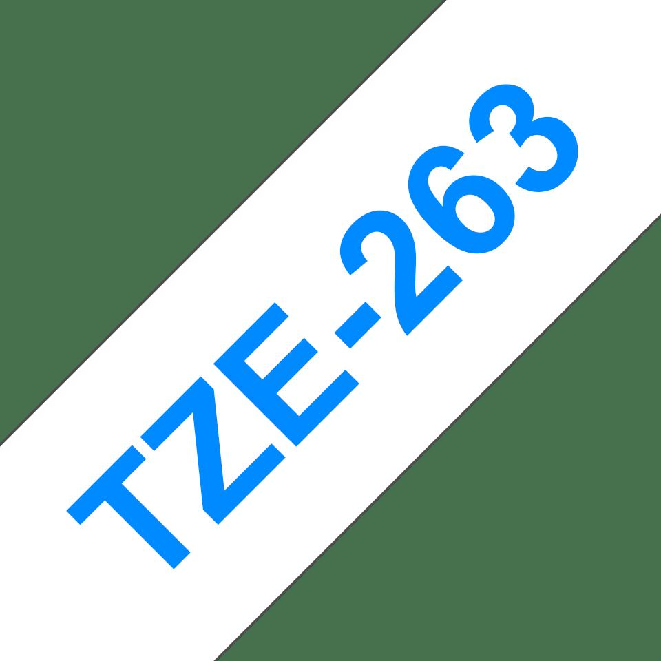 Brother TZe-263 Schriftband – blau auf weiß 2
