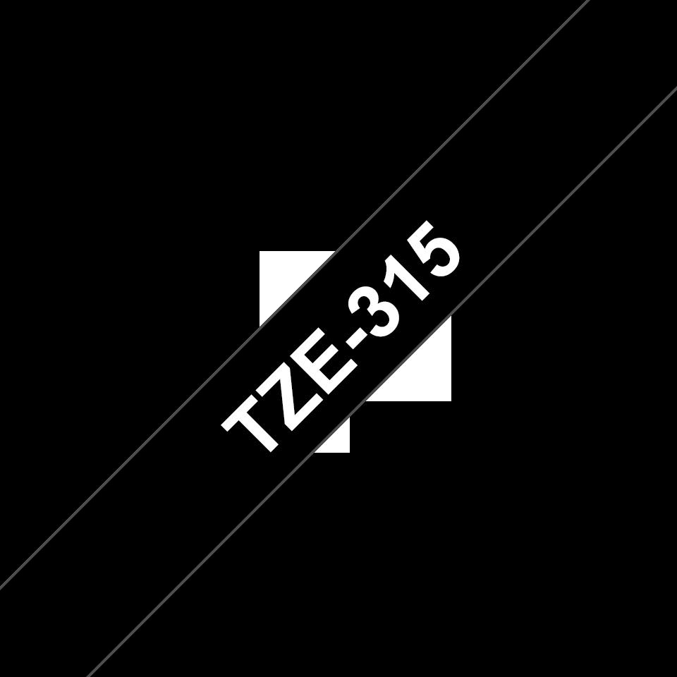 Brother TZe-315 Schriftband – weiß auf schwarz 2