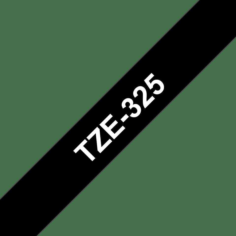 Brother TZe-325 Schriftband – weiß auf schwarz 2