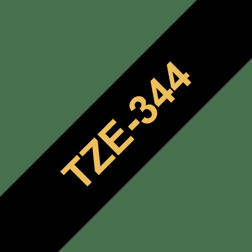 Brother TZe-344 Schriftband – gold auf schwarz 2