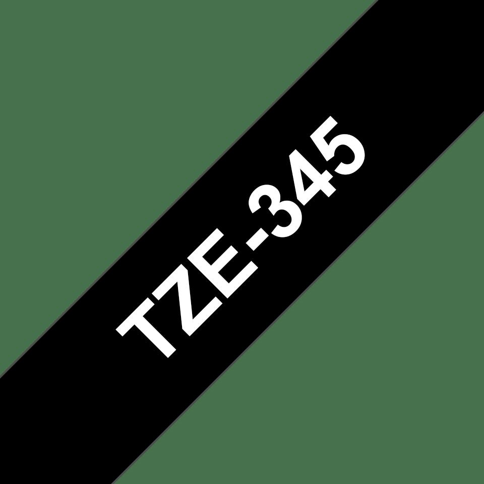 Brother TZe-345 Schriftband – weiß auf schwarz 3