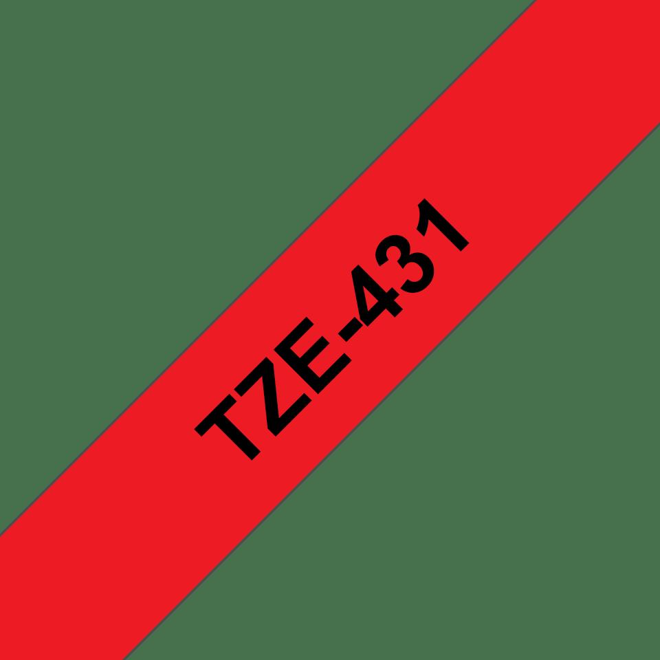 Brother TZe-431 Schriftband – schwarz auf rot 2