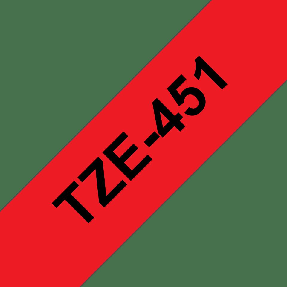 Brother TZe-451 Schriftband – schwarz auf rot 2