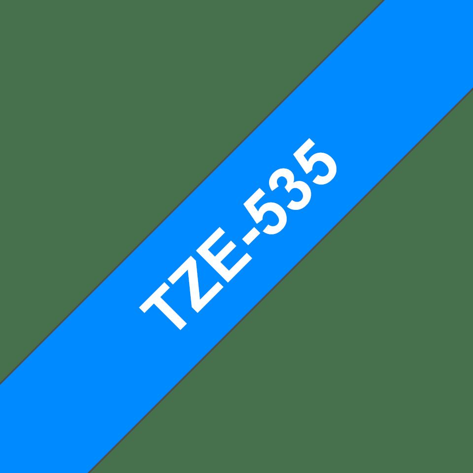 Brother TZe-535 Schriftband – weiß auf blau 2