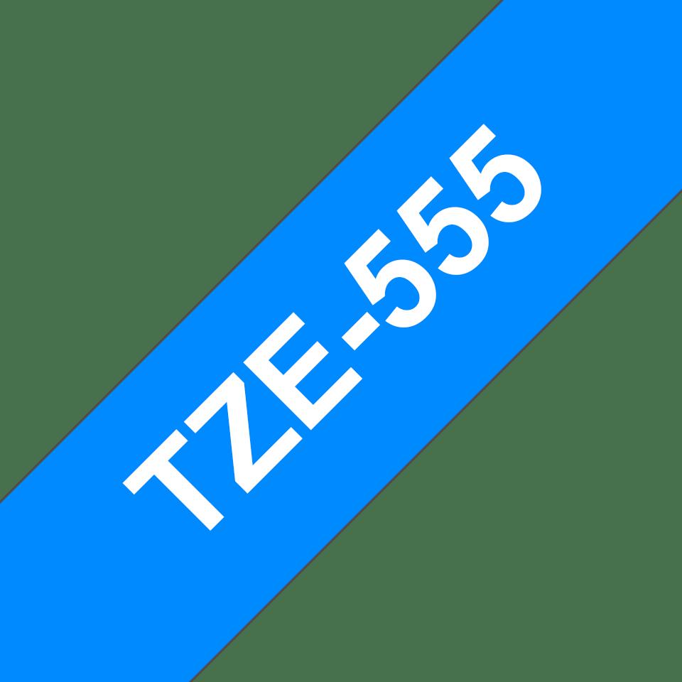 Brother TZe-555 Schriftband – weiß auf blau 2