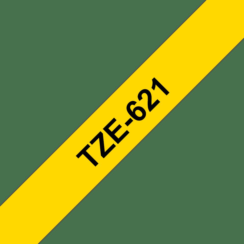 Brother TZe-621 Schriftband – schwarz auf gelb 2