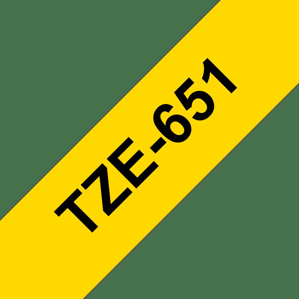 Brother TZe-651 Schriftband – schwarz auf gelb 2