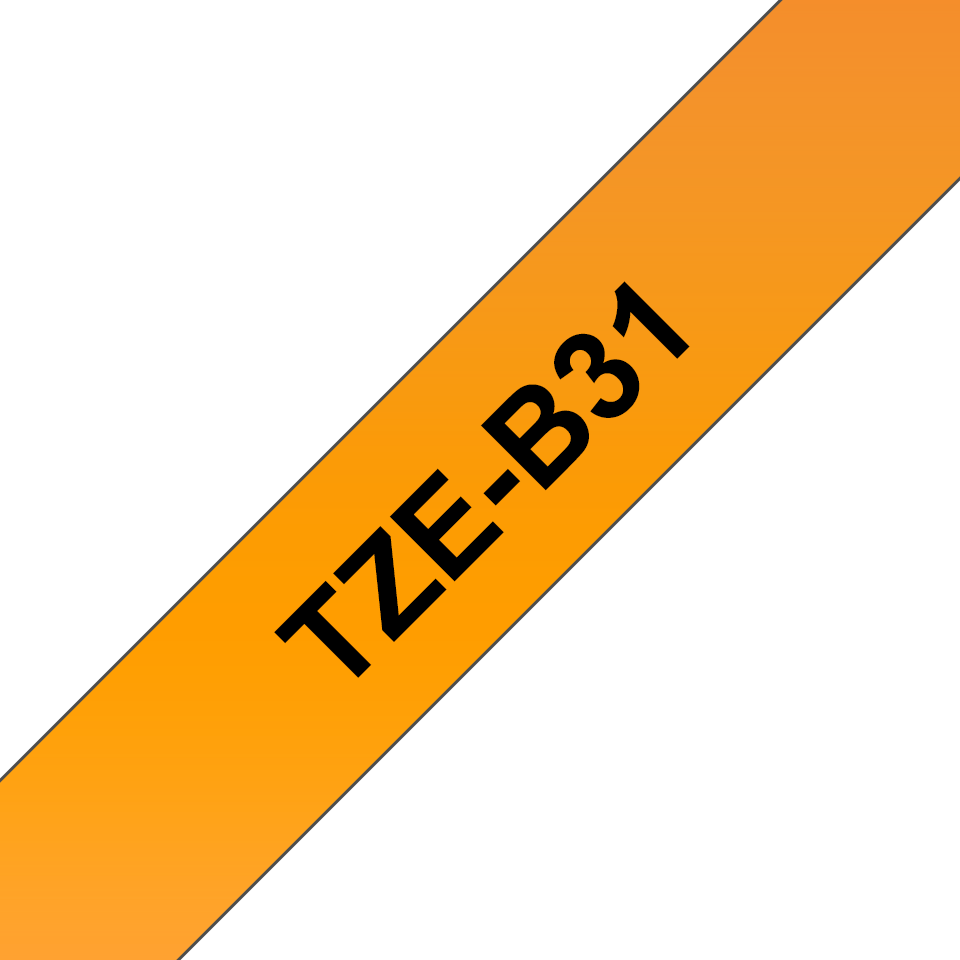 Brother TZe-B31 Schriftband – schwarz auf signal-orange 2