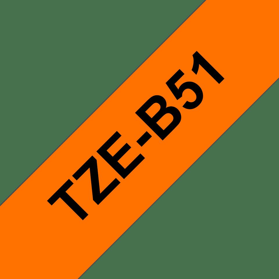 Brother TZe-B51 Schriftband – schwarz auf signal-orange 2