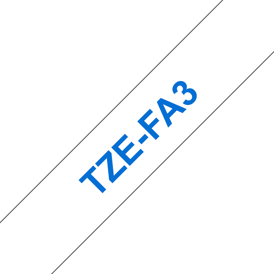 Brother TZe-FA3 Schriftband – blau auf weiß 3